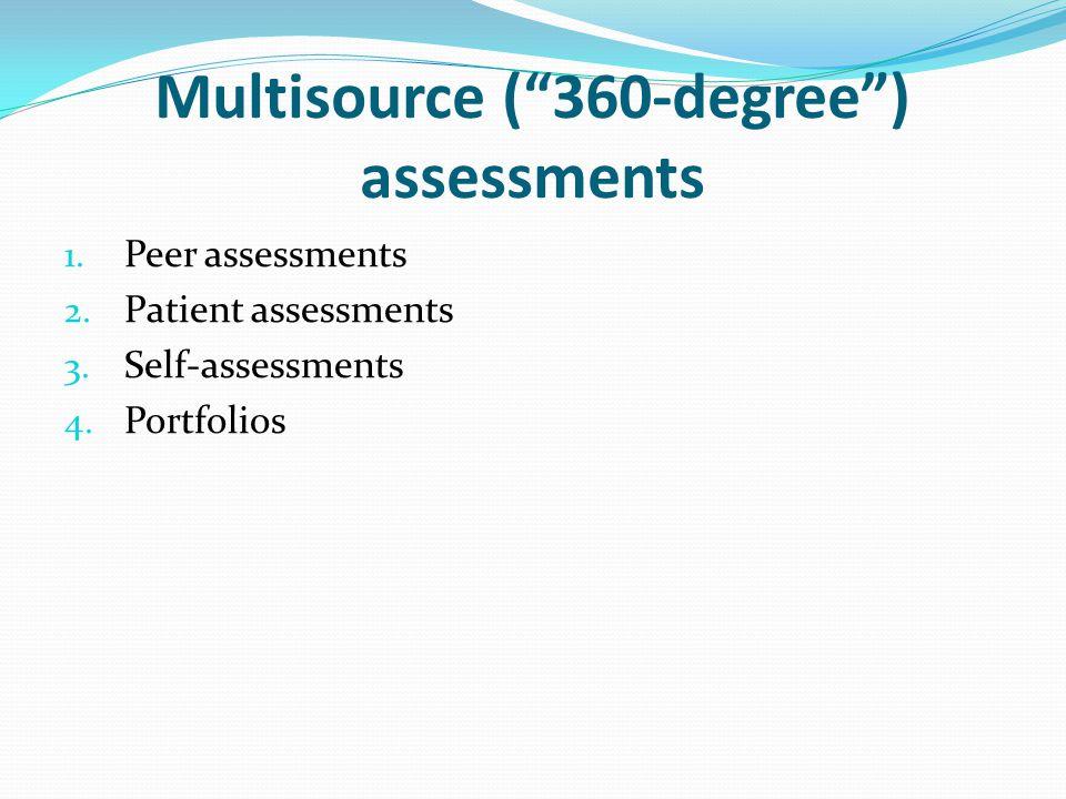 """Multisource (""""360-degree"""") assessments 1. Peer assessments 2. Patient assessments 3. Self-assessments 4. Portfolios"""