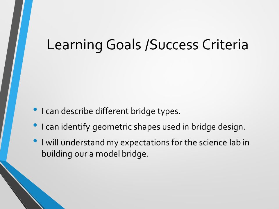 Learning Goals /Success Criteria I can describe different bridge types. I can identify geometric shapes used in bridge design. I will understand my ex
