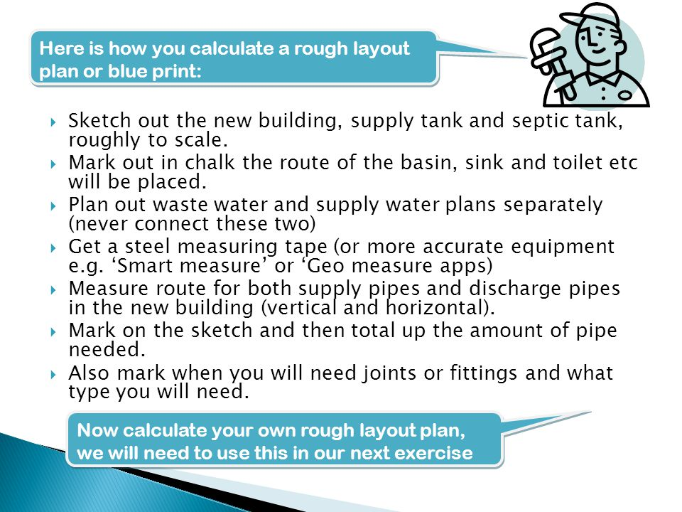  Exercise: Using your blue print calculate the total amount of pipes and fittings you need.