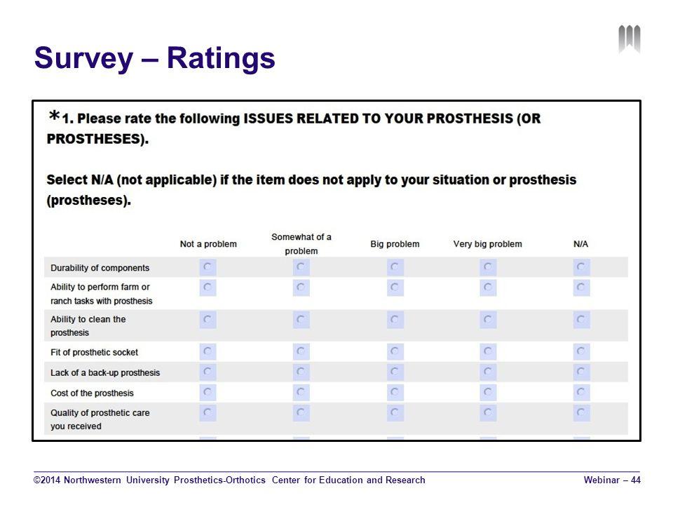 Survey – Ratings ©2014 Northwestern University Prosthetics-Orthotics Center for Education and Research Webinar – 44