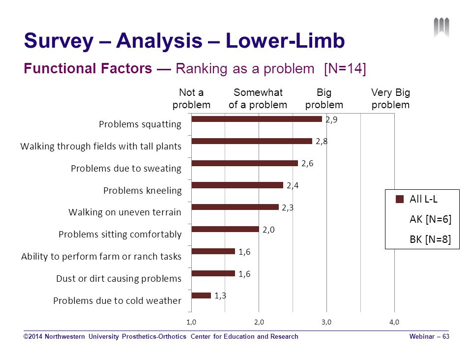 Survey – Analysis – Lower-Limb Functional Factors — Ranking as a problem [N=14] ©2014 Northwestern University Prosthetics-Orthotics Center for Education and Research Not a problem Somewhat of a problem Big problem Very Big problem Webinar – 63 All L-L AK [N=6] BK [N=8]
