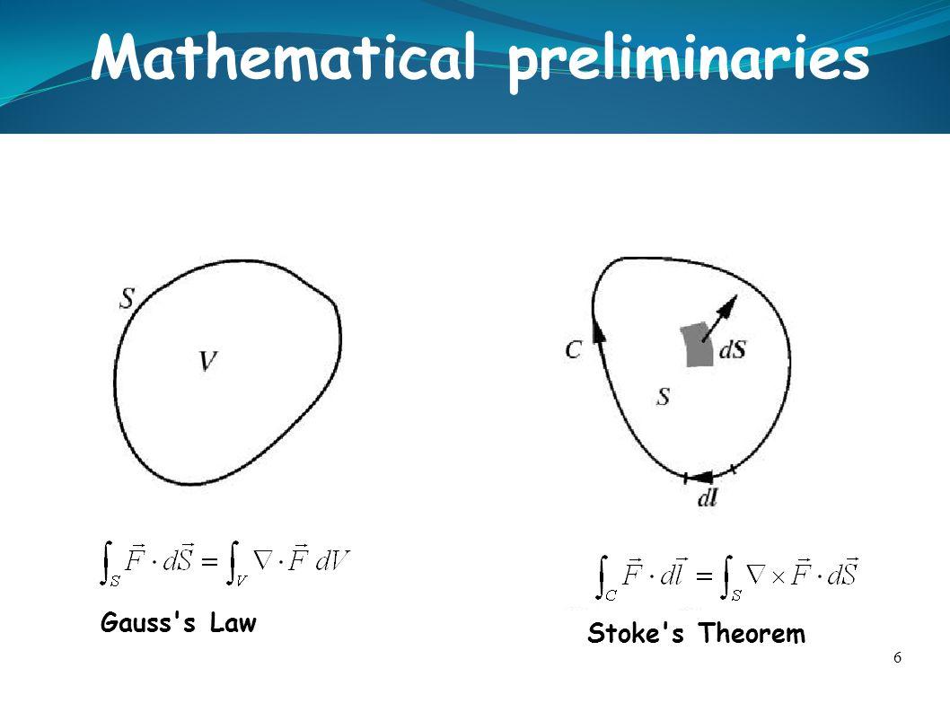 6 Mathematical preliminaries Gauss's Law Stoke's Theorem