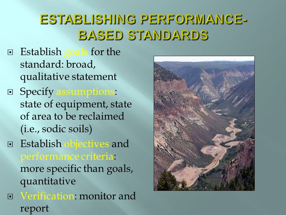  Establish goals for the standard: broad, qualitative statement  Specify assumptions: state of equipment, state of area to be reclaimed (i.e., sodic soils)  Establish objectives and performance criteria: more specific than goals, quantitative  Verification: monitor and report