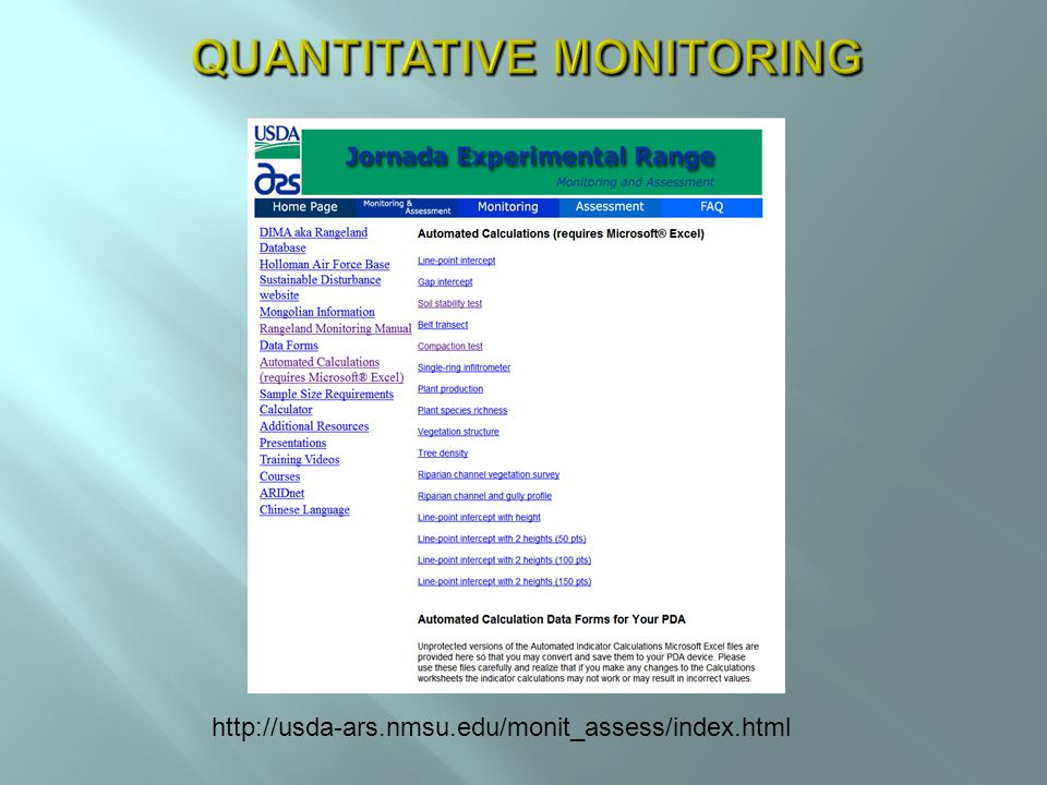 http://usda-ars.nmsu.edu/monit_assess/index.html