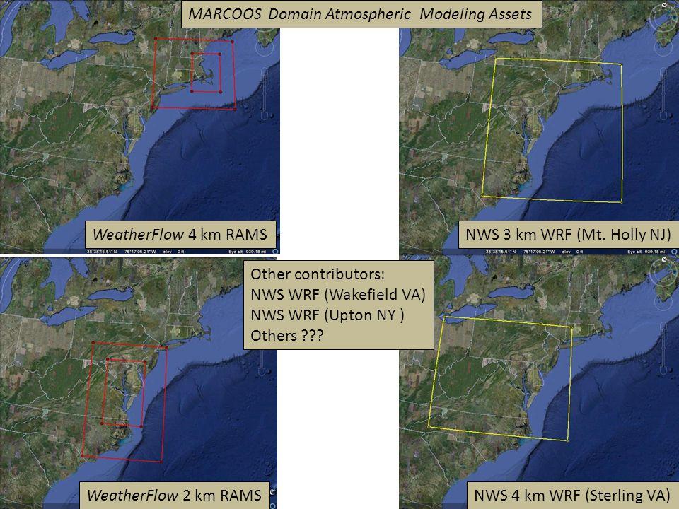 WeatherFlow 4 km RAMS WeatherFlow 2 km RAMS NWS 3 km WRF (Mt. Holly NJ) NWS 4 km WRF (Sterling VA) Other contributors: NWS WRF (Wakefield VA) NWS WRF