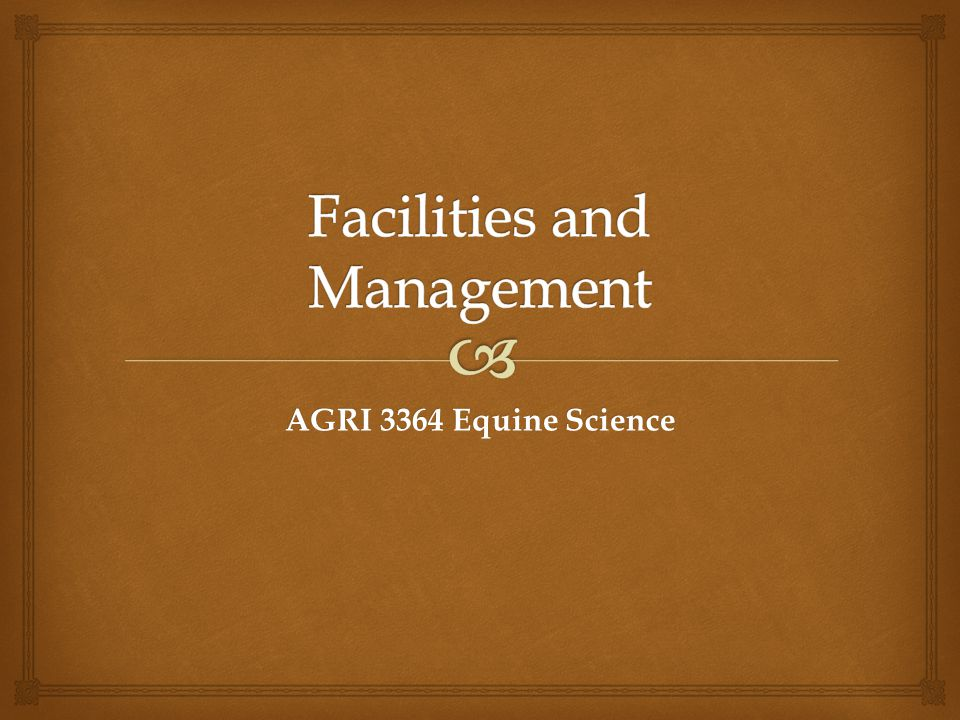   Horses are housed in buildings primarily for convenience of handlers  As a result  Human environmental needs plays a major role in facility design  This may be a conflict with  The environmental needs of the horse Buildings
