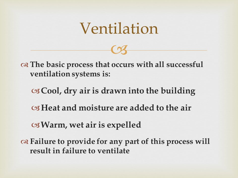   The basic process that occurs with all successful ventilation systems is:  Cool, dry air is drawn into the building  Heat and moisture are added to the air  Warm, wet air is expelled  Failure to provide for any part of this process will result in failure to ventilate Ventilation