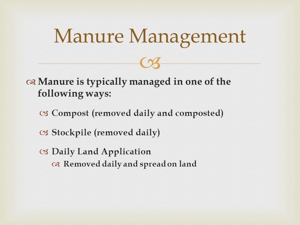   Manure is typically managed in one of the following ways:  Compost (removed daily and composted)  Stockpile (removed daily)  Daily Land Application  Removed daily and spread on land Manure Management