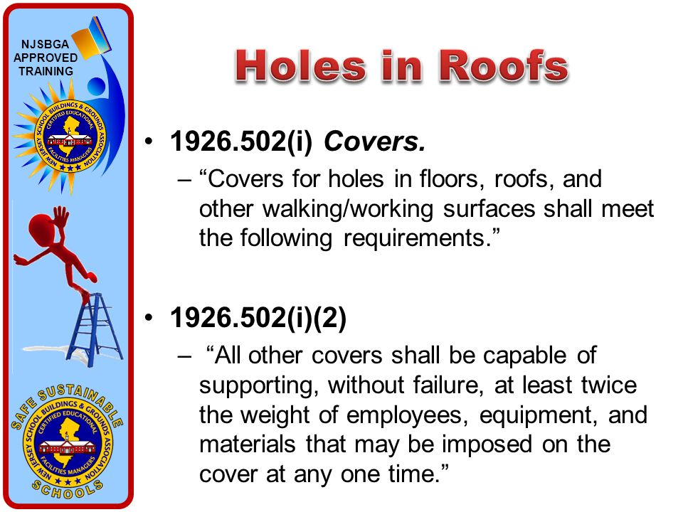 "NJSBGA APPROVED TRAINING 1926.502(i) Covers. –""Covers for holes in floors, roofs, and other walking/working surfaces shall meet the following requirem"