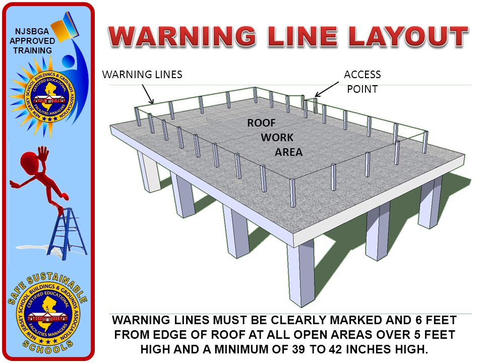 NJSBGA APPROVED TRAINING ACCESS POINT WARNING LINES WARNING LINES MUST BE CLEARLY MARKED AND 6 FEET FROM EDGE OF ROOF AT ALL OPEN AREAS OVER 5 FEET HI