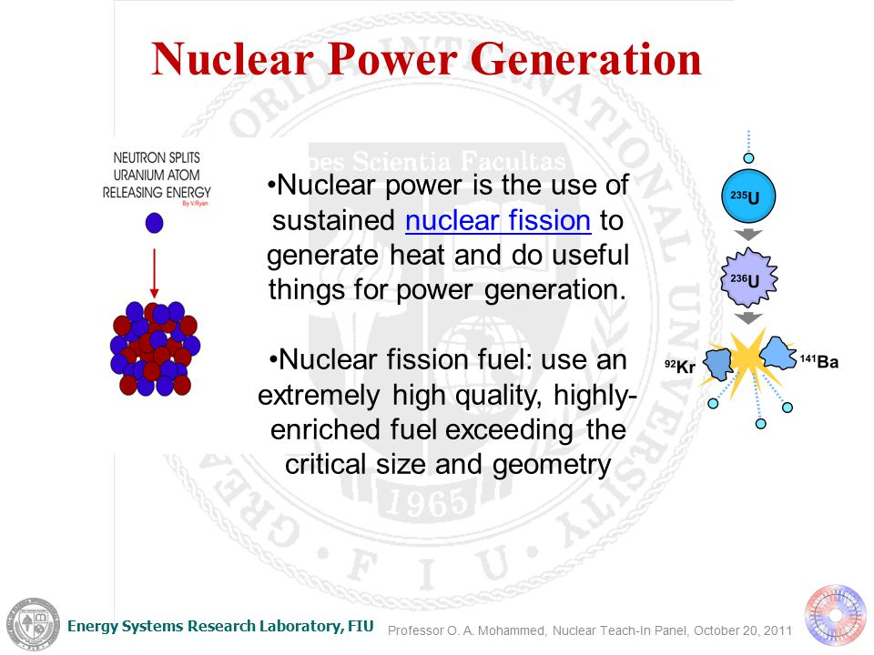 Energy Systems Research Laboratory, FIU Nuclear Power Today Provides almost 20% of world's electricity (8% in U.S.) 69% of U.S.
