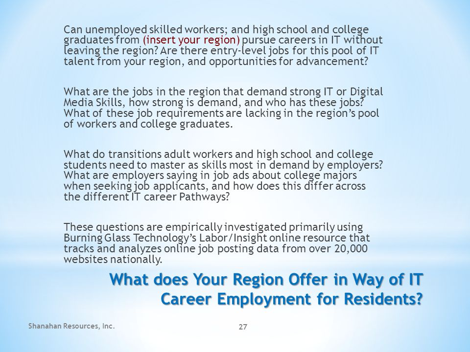 27 What does Your Region Offer in Way of IT Career Employment for Residents.