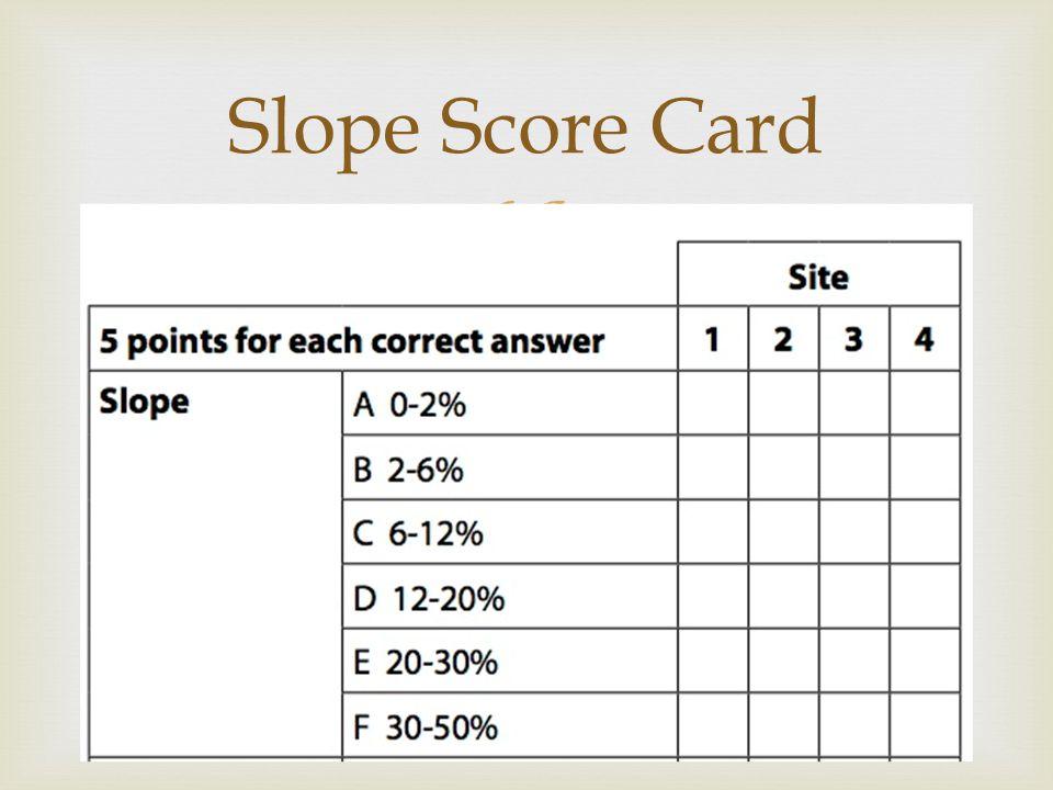  Slope Score Card
