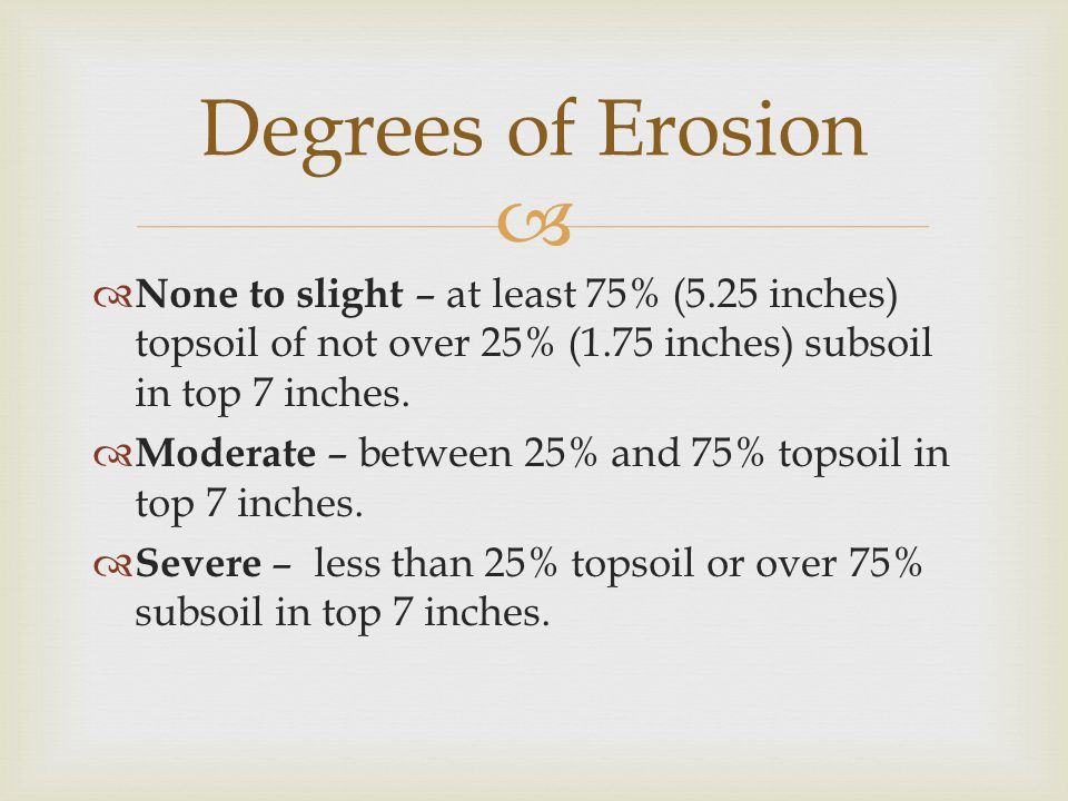   None to slight – at least 75% (5.25 inches) topsoil of not over 25% (1.75 inches) subsoil in top 7 inches.  Moderate – between 25% and 75% topsoi