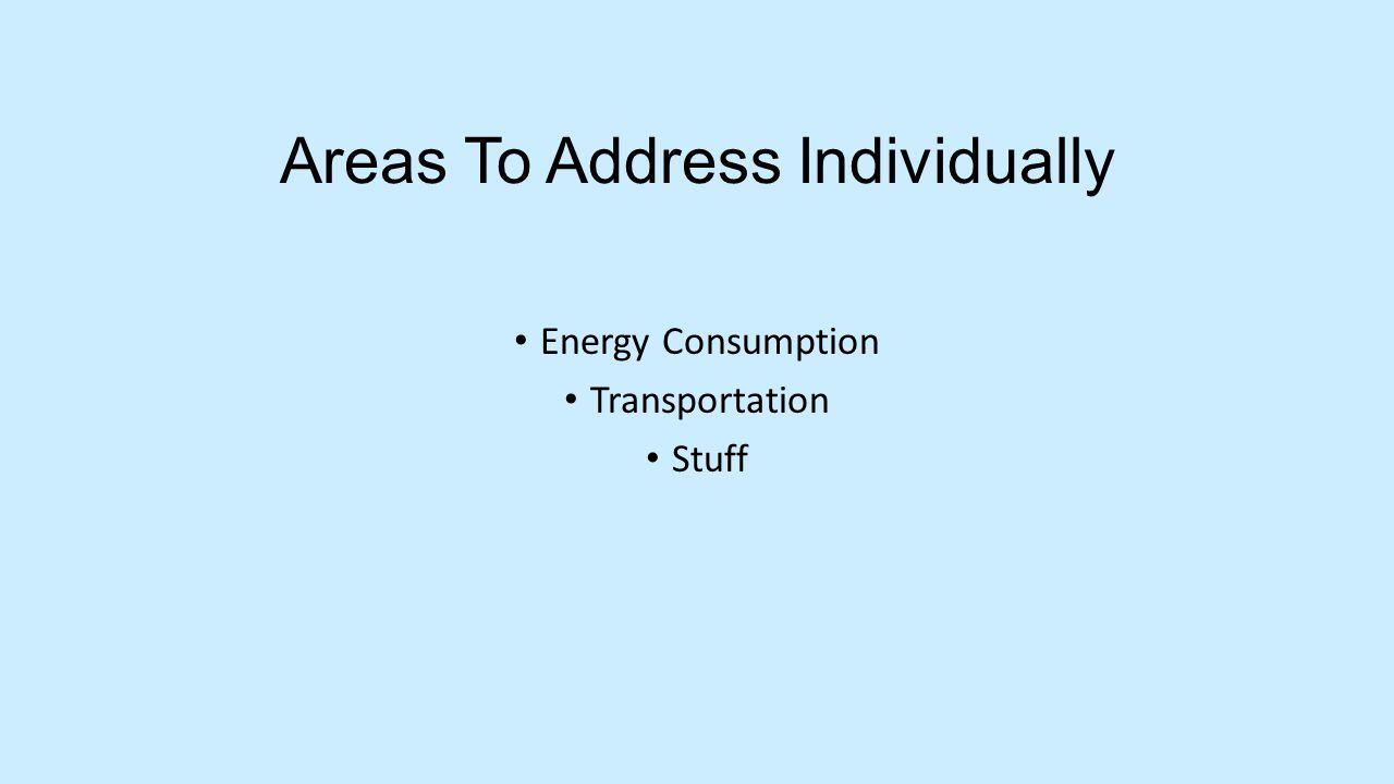 Areas To Address Individually Energy Consumption Transportation Stuff