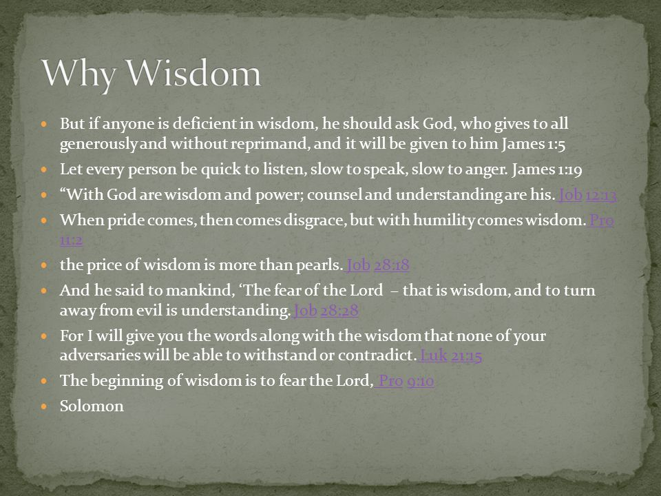 Types of Wisdom Earthly wisdom Educational Street Wise Demonic Wisdom Sensual Wisdom Heavenly or Godly Wisdom