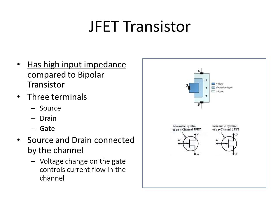 JFET Transistor Has high input impedance compared to Bipolar Transistor Three terminals – Source – Drain – Gate Source and Drain connected by the channel – Voltage change on the gate controls current flow in the channel