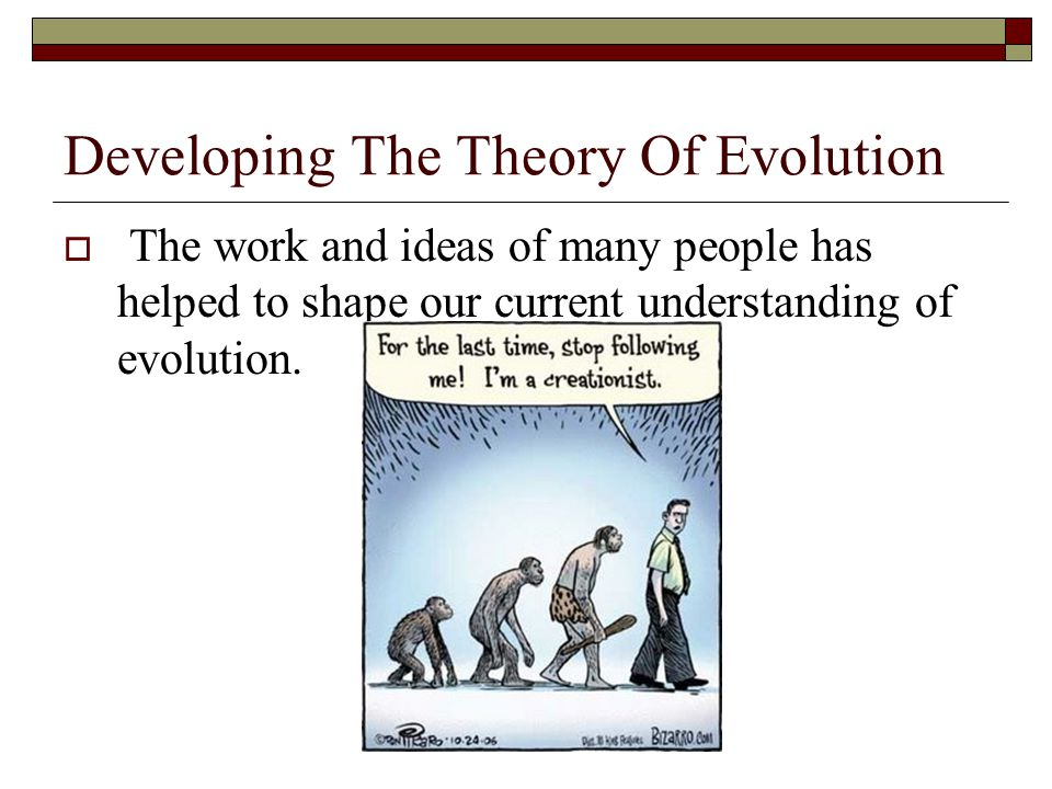 Developing The Theory Of Evolution  The work and ideas of many people has helped to shape our current understanding of evolution.