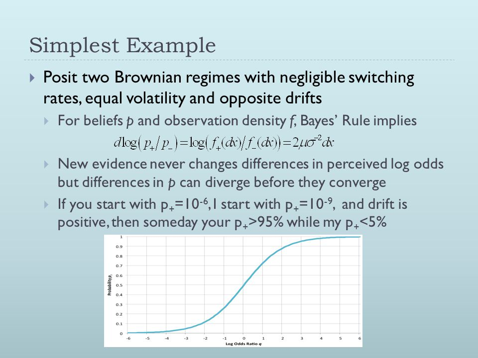 Simplest Example  Posit two Brownian regimes with negligible switching rates, equal volatility and opposite drifts  For beliefs p and observation density f, Bayes' Rule implies  New evidence never changes differences in perceived log odds but differences in p can diverge before they converge  If you start with p + =10 -6, I start with p + =10 -9, and drift is positive, then someday your p + >95% while my p + <5%