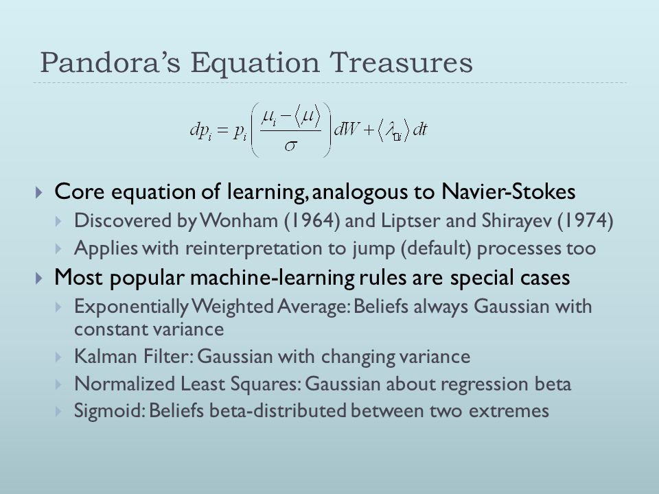 Pandora's Equation Treasures  Core equation of learning, analogous to Navier-Stokes  Discovered by Wonham (1964) and Liptser and Shirayev (1974)  A