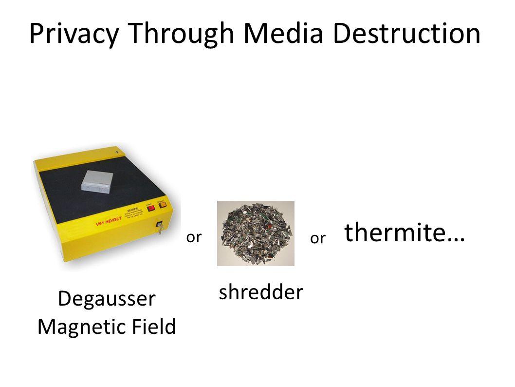 Privacy Through Media Destruction Degausser Magnetic Field or thermite… shredder