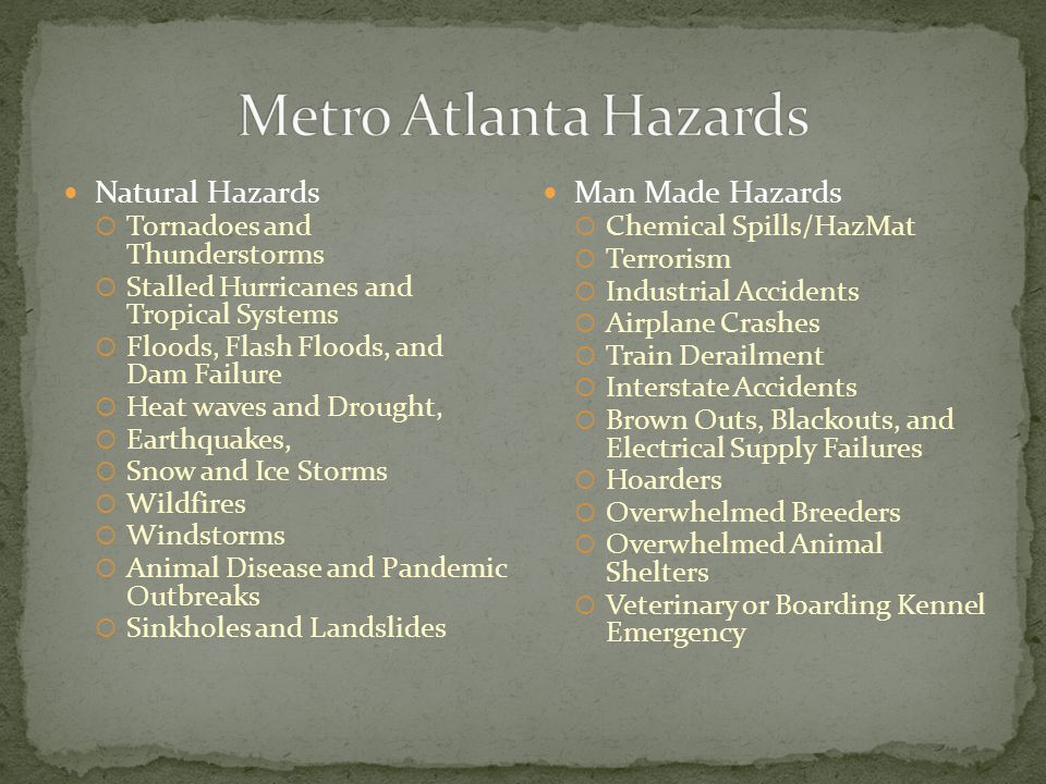 Natural Hazards  Tornadoes and Thunderstorms  Stalled Hurricanes and Tropical Systems  Floods, Flash Floods, and Dam Failure  Heat waves and Droug