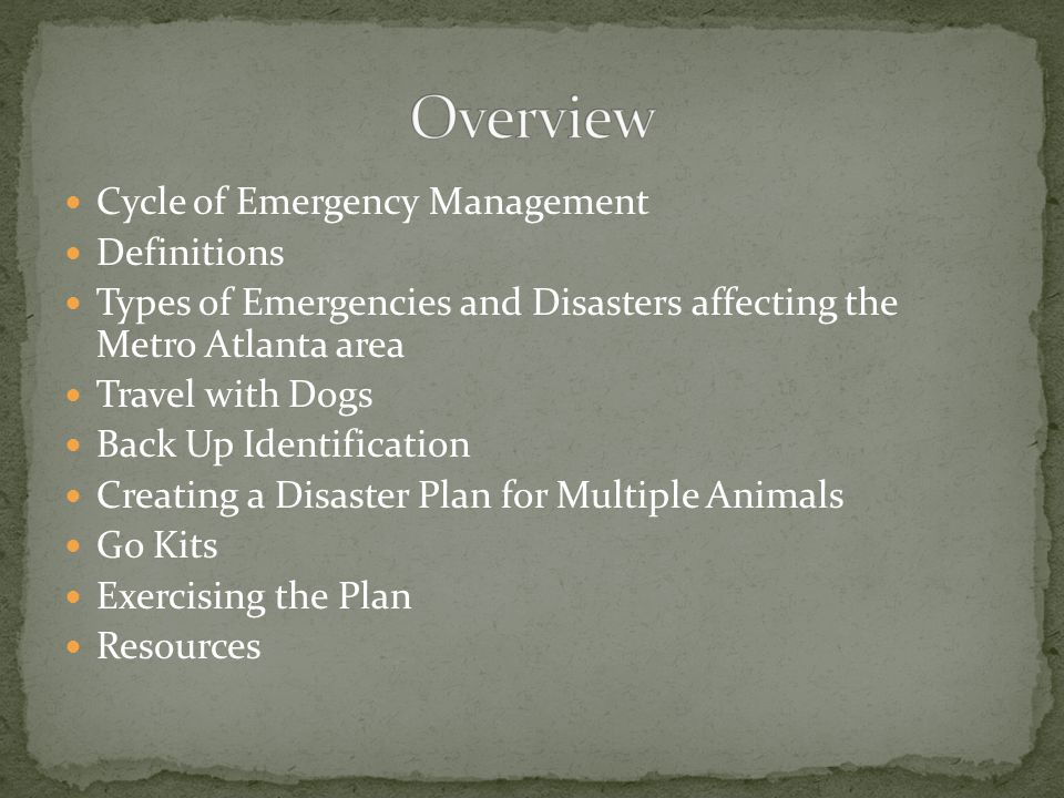BA in Emergency & Disaster Management; currently a graduate student in Emergency & Disaster Management and Organizational Management Multiple FEMA courses in emergency management including ICS 100, 200, 300, 400, 700, 800; HSEEP; and Animals in Disaster Field Supervisor for the Animal Protection Section of the Georgia Department of Agriculture and member of the GDA's All-Hazard Team Recent speaking engagements include the 2010 Animal Law Conference hosted by the Animal Law Section of the State Bar of Georgia, 2010 Chatham County Hurricane Conference, Gwinnett Technical College, the University of Georgia, Georgia Animal Control Academy, Sawnee Mountain Kennel Club, and Atlanta Kennel Club A Safety Officer for the 2010 USEA American Eventing Championships Assists animal owners and animal related businesses with disaster planning and emergency exercises Owner/Handler of Cardigan Welsh Corgis and member of the Cardigan Welsh Corgi Club of American since 1999 Veterinary Technician with a Non-Governmental Organization in Slidell, La after Hurricane Katrina
