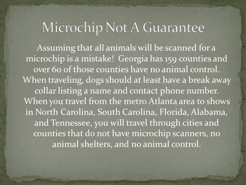 Assuming that all animals will be scanned for a microchip is a mistake! Georgia has 159 counties and over 60 of those counties have no animal control.