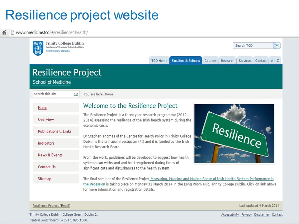 Trinity College Dublin, The University of Dublin Resilience project website
