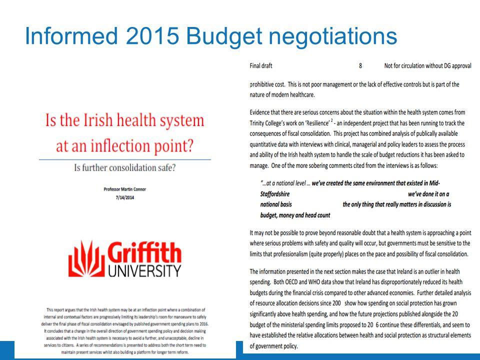 Trinity College Dublin, The University of Dublin Informed 2015 Budget negotiations