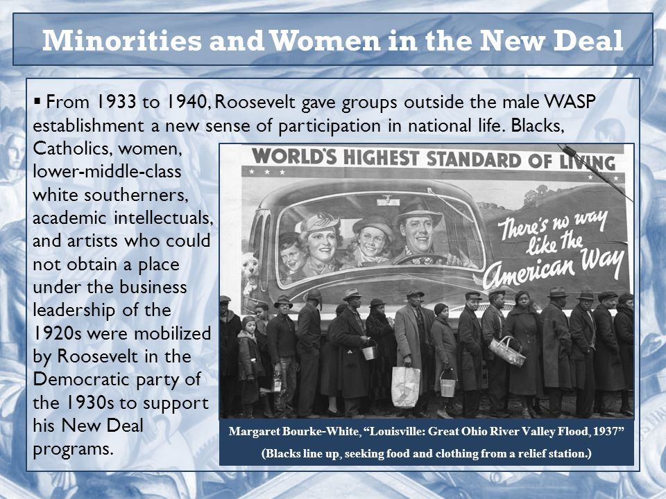 Minorities and Women in the New Deal  From 1933 to 1940, Roosevelt gave groups outside the male WASP establishment a new sense of participation in national life.