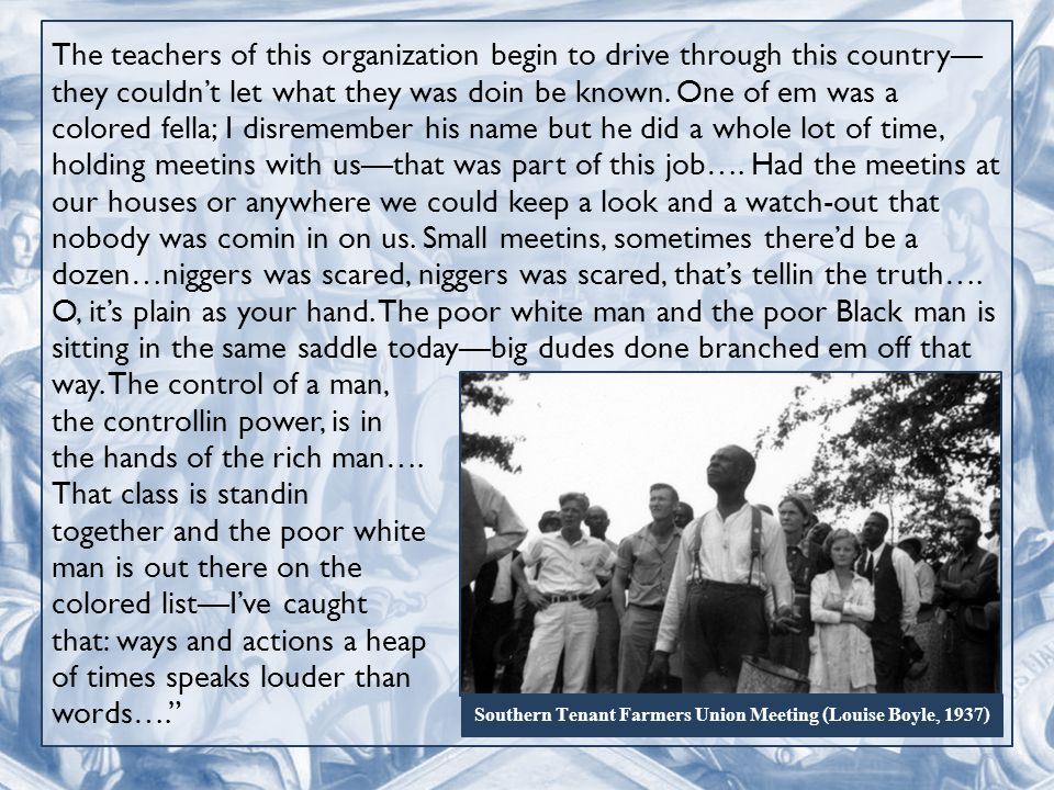 The teachers of this organization begin to drive through this country— they couldn't let what they was doin be known.