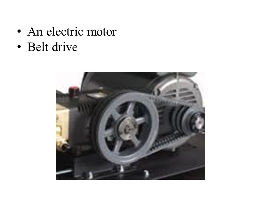 An electric motor Belt drive