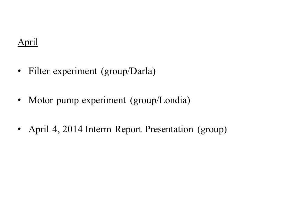 April Filter experiment (group/Darla) Motor pump experiment (group/Londia) April 4, 2014 Interm Report Presentation (group)