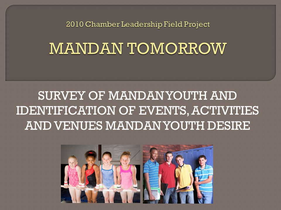 SURVEY OF MANDAN YOUTH AND IDENTIFICATION OF EVENTS, ACTIVITIES AND VENUES MANDAN YOUTH DESIRE