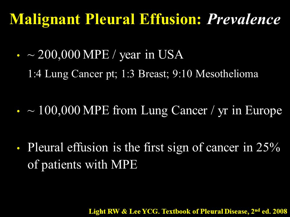 Malignant Pleural Effusion: Prevalence ~ 200,000 MPE / year in USA 1:4 Lung Cancer pt; 1:3 Breast; 9:10 Mesothelioma ~ 100,000 MPE from Lung Cancer /