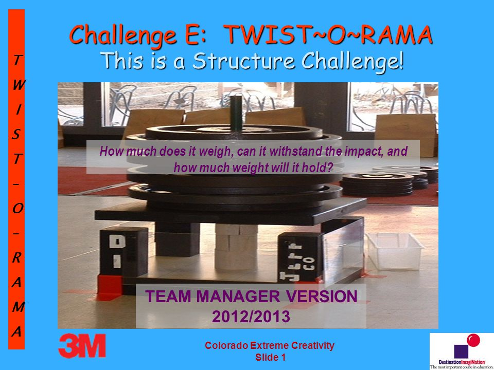 TW IST–O–RAMA Colorado Extreme Creativity Slide 12 The Central Challenge Intent of the Challenge: Design and build a structure made using only materials from a list.