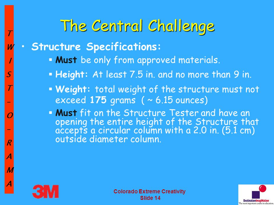 TW IST–O–RAMA Colorado Extreme Creativity Slide 14 The Central Challenge Structure Specifications:  Must be only from approved materials.