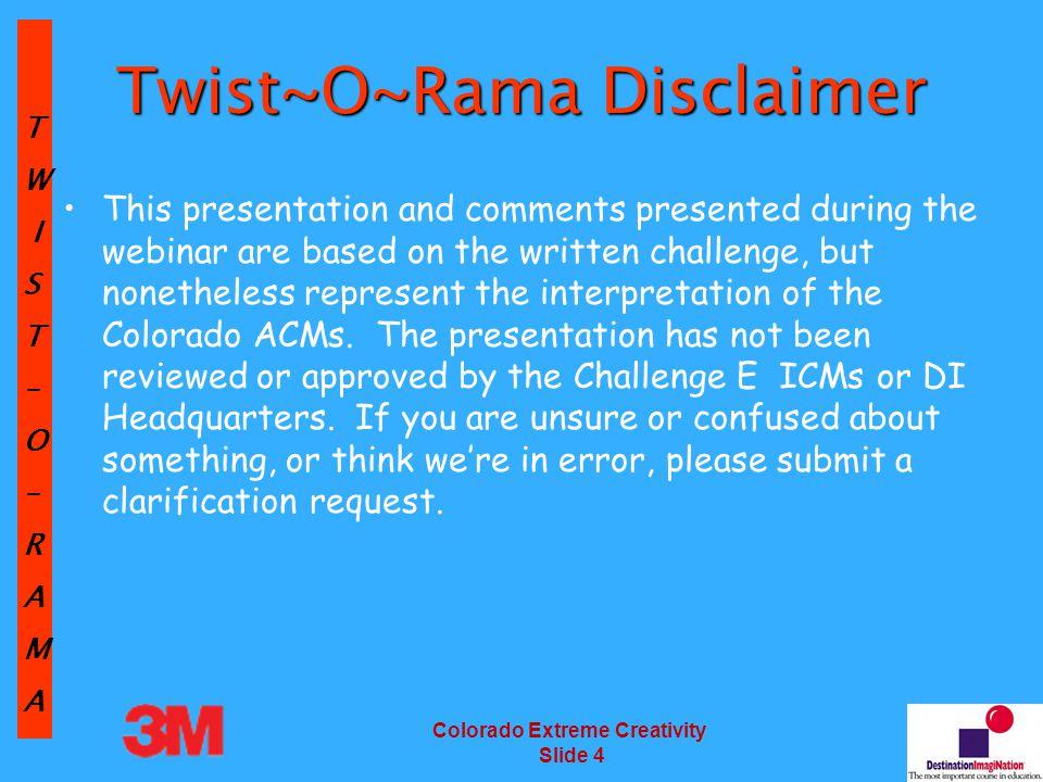 TW IST–O–RAMA Colorado Extreme Creativity Slide 85 Scoring – Points Breakdown