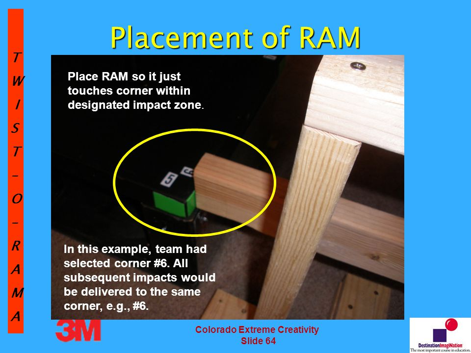 TW IST–O–RAMA Colorado Extreme Creativity Slide 64 Placement of RAM Place RAM so it just touches corner within designated impact zone.