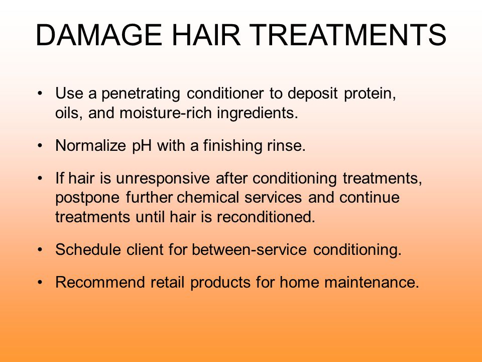 DAMAGED HAIR CHARACTERISTICS Rough texture Overporous condition Brittle and dry to touch Susceptible to breakage No elasticity Becomes spongy and matted when wet Color fades or absorbs too rapidly