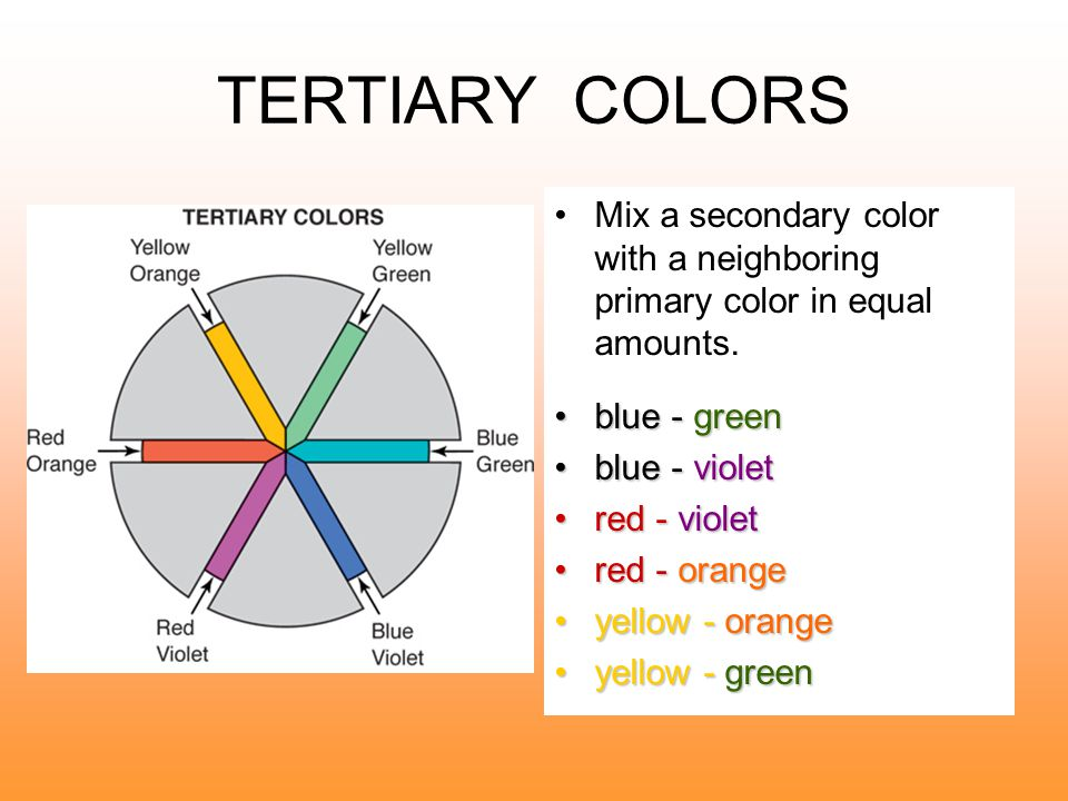 SECONDARY COLORS Mix equal parts of two primary colors.