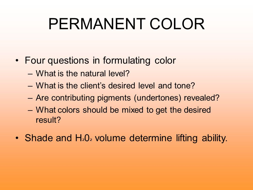 PERMANENT COLOR Single process haircoloring lightens and colors the hair in a single application.
