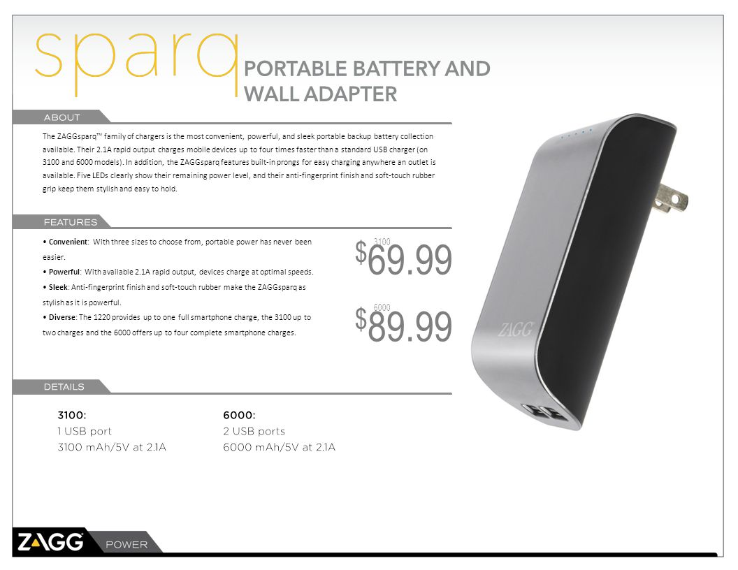 The ZAGG Sparq PowerBank Backup Battery delivers uncompromising power, wherever it goes.