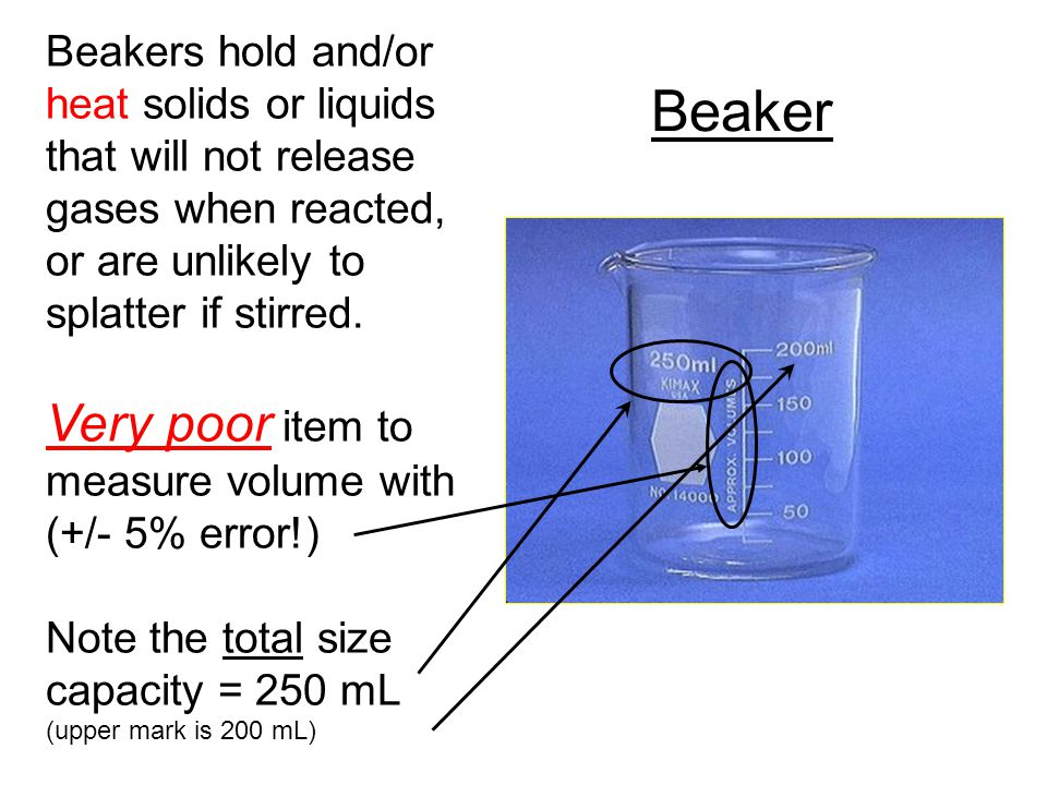 Beaker Beakers hold and/or heat solids or liquids that will not release gases when reacted, or are unlikely to splatter if stirred. Very poor item to