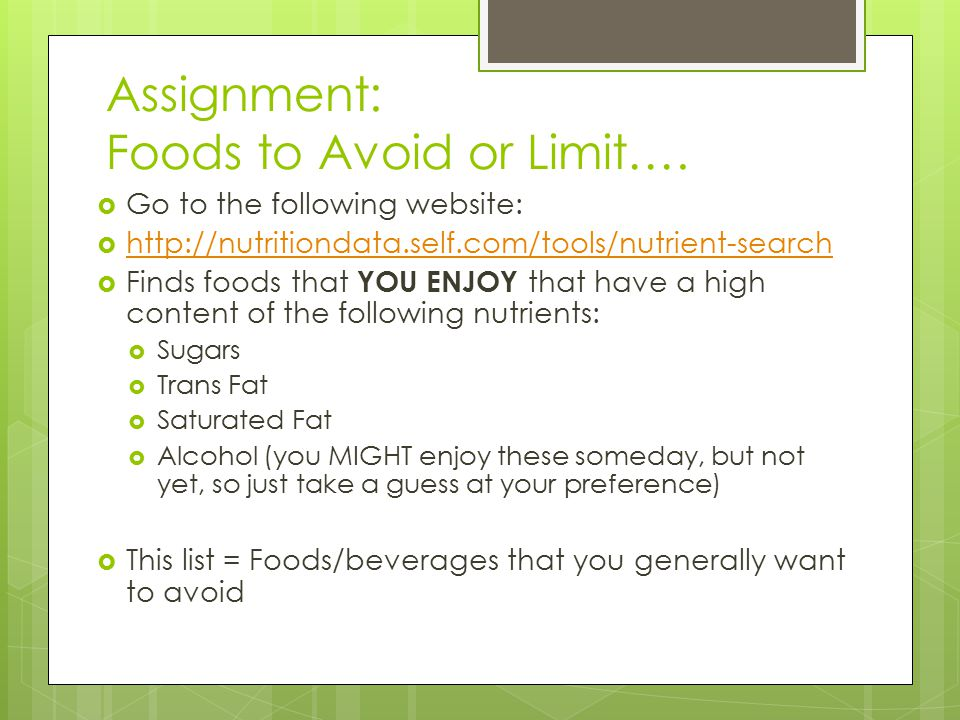Assignment: Foods to Avoid or Limit….