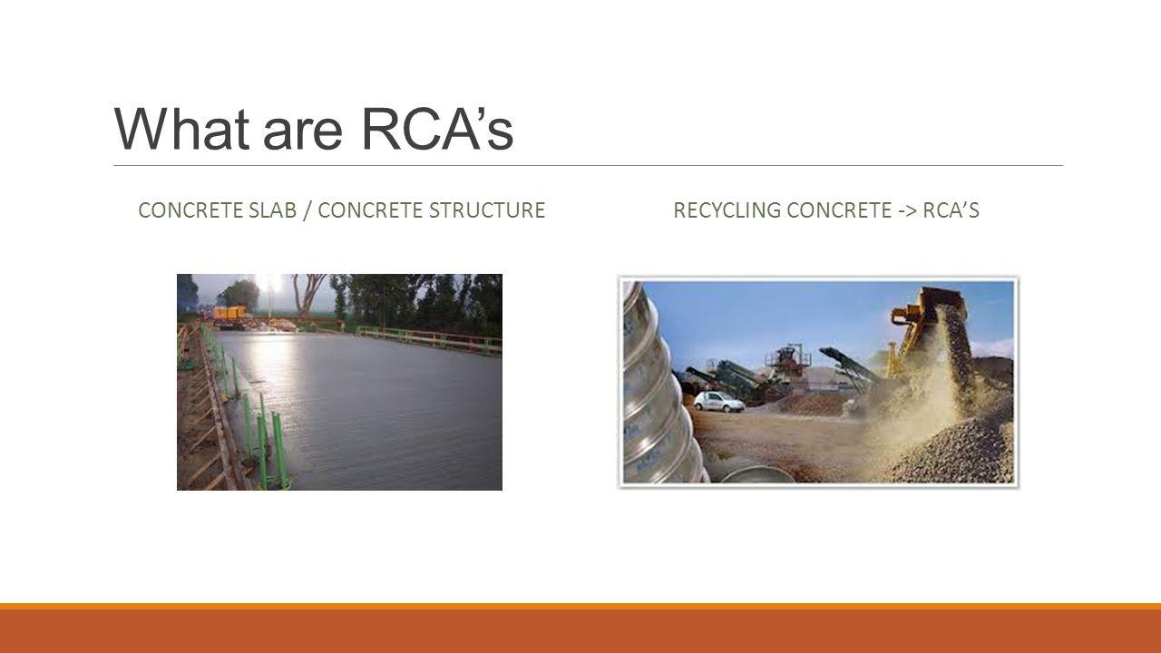 What are RCA's RECYCLING CONCRETE -> RCA'S CONCRETE SLAB / CONCRETE STRUCTURE