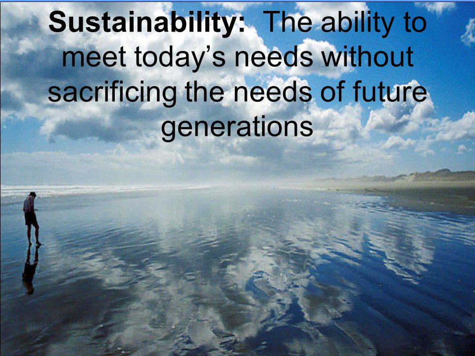 Sustainability: The ability to meet today's needs without sacrificing the needs of future generations