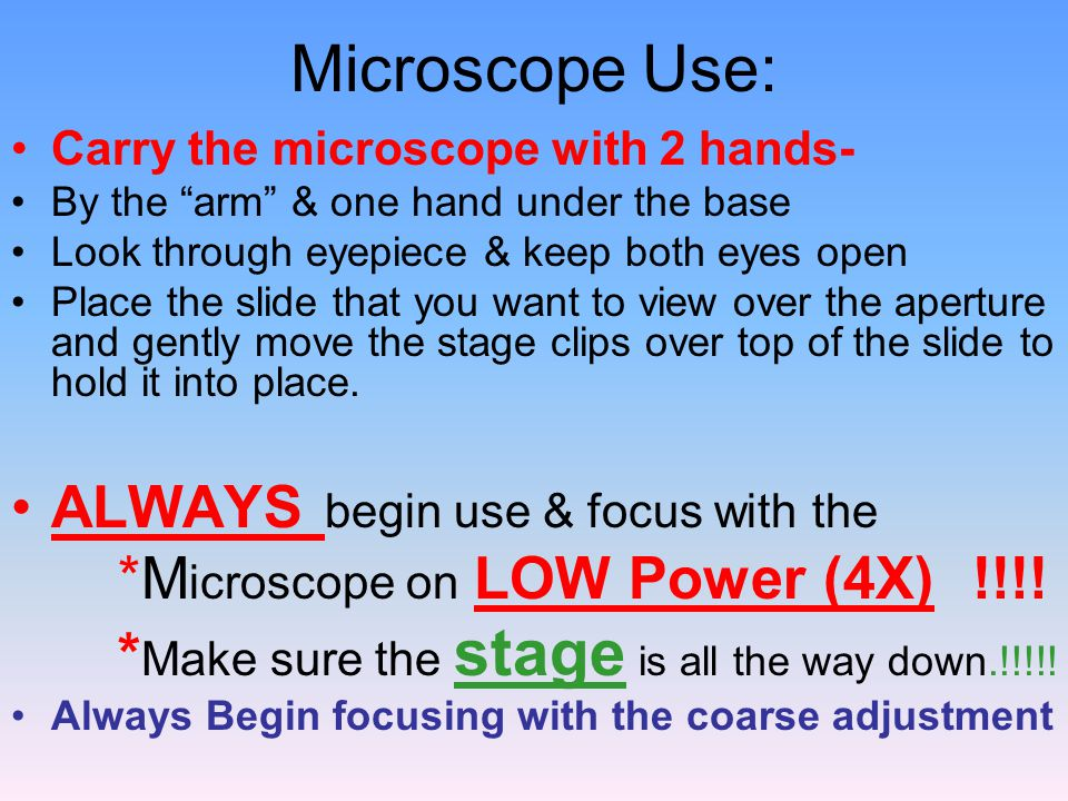 "Microscope Use: Carry the microscope with 2 hands- By the ""arm"" & one hand under the base Look through eyepiece & keep both eyes open Place the slide"
