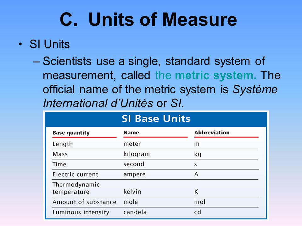 C. Units of Measure SI Units –Scientists use a single, standard system of measurement, called the metric system. The official name of the metric syste
